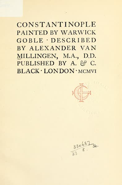 Constantinople Painted and Described - Title Page (1906)