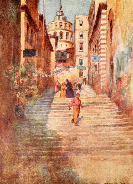 Constantinople Painted and Described - A Step Street in Galata (1906)