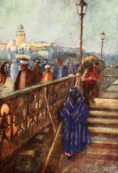 Constantinople Painted and Described - Galata Tower from the Bridge (1906)