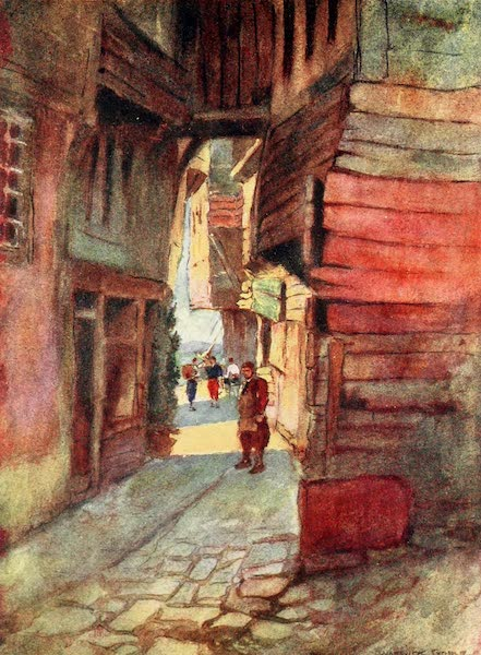 Constantinople Painted and Described - Street Scene, Roumeli Hissar (1906)