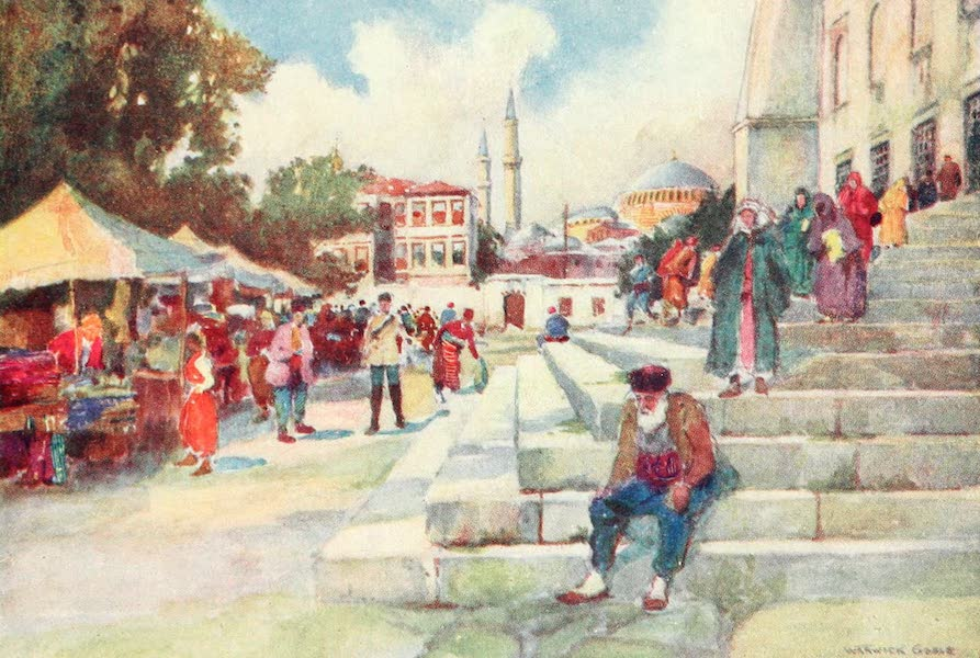 Constantinople Painted and Described - Market in the Court of the Mosque of Sultan Ahmed I. (1906)