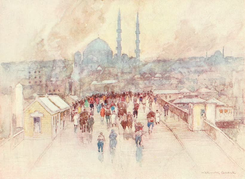 Constantinople Painted and Described - A Wet Day on the Galata Bridge (1906)