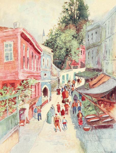 Constantinople Painted and Described - Street Scene, Top-Khaneh (1906)