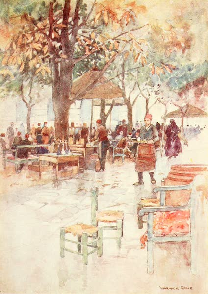 Constantinople Painted and Described - Open Air Cafe, Stamboul (1906)