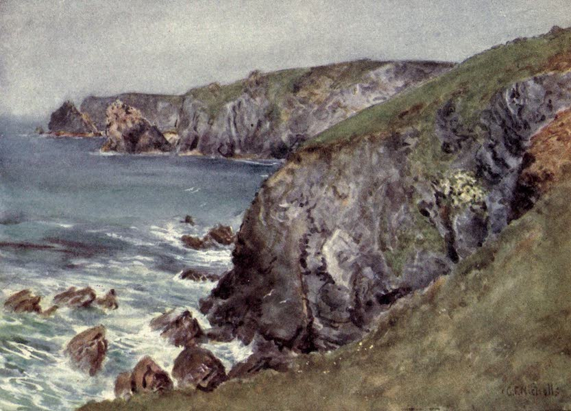 Cornwall Painted and Described - The Coast near the Lizard (1915)