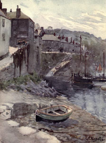 Cornwall Painted and Described - Bird's-Eye View of Fowey Haven (1915)