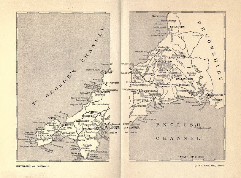 Cornwall Painted and Described - Sketch Map of Cornwall (1915)