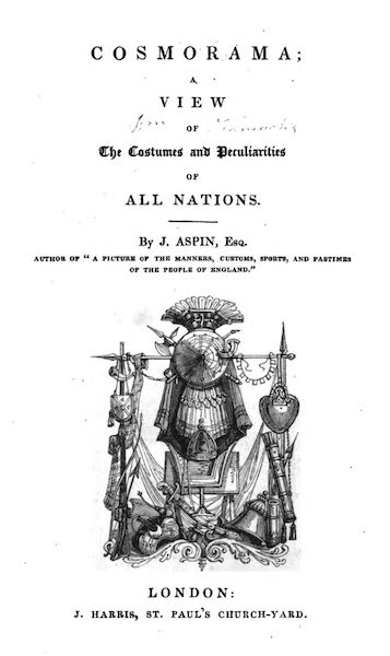 Cosmorama : A View of the Costumes and Peculiarities of all Nations - Title Page (1827)