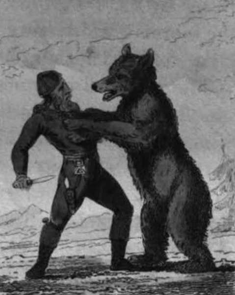 Cosmorama : A View of the Costumes and Peculiarities of all Nations - A Norwegian Killing a Bear (1827)