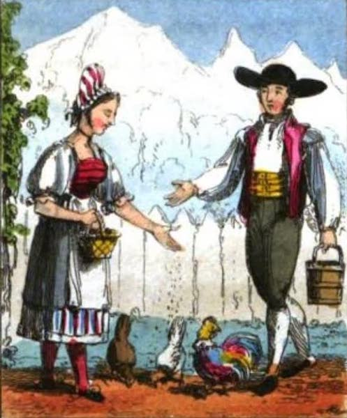 Cosmorama : A View of the Costumes and Peculiarities of all Nations - Swiss Peasants (1827)