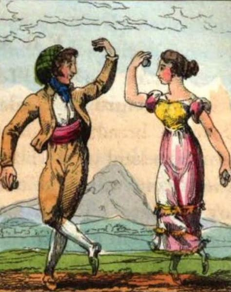 Cosmorama : A View of the Costumes and Peculiarities of all Nations - The Spanish Fandago (1827)