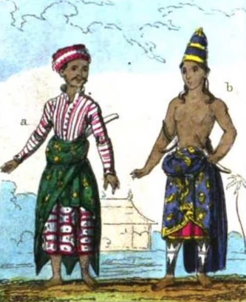 Cosmorama : A View of the Costumes and Peculiarities of all Nations - Java (A) Madurese (B) Court Dress (1827)