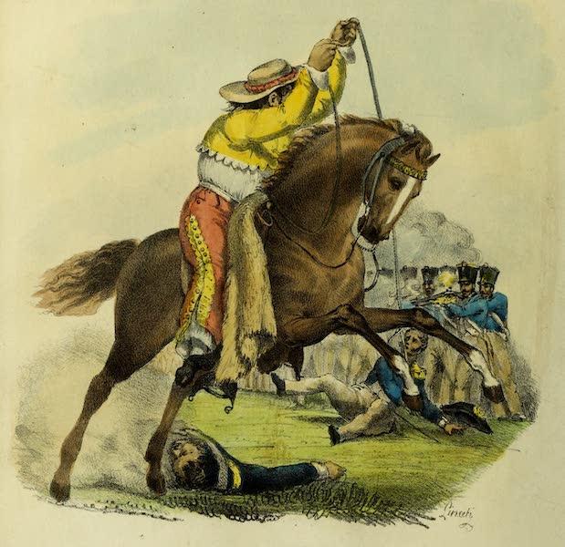 Costumes Civils, Militaires et Religieux du Mexique - Ranchero Mexicain, enlevant un officier du front de son bataillon avec le Lazo (noeud coulant) historique (1828)
