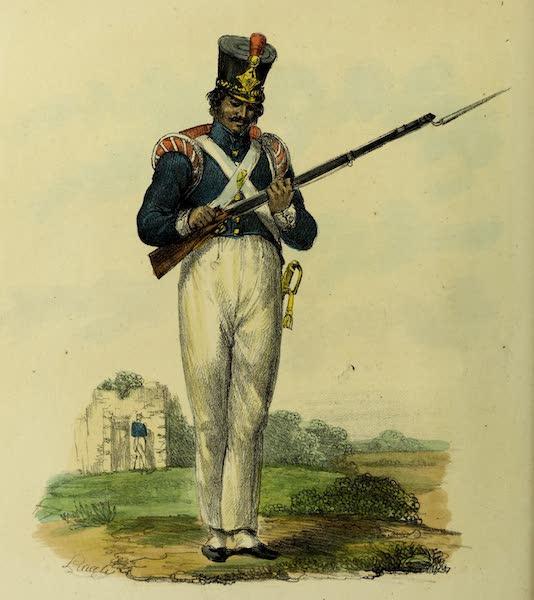 Costumes Civils, Militaires et Religieux du Mexique - Fantassin en grande tenue. Nouveau Costume (1828)