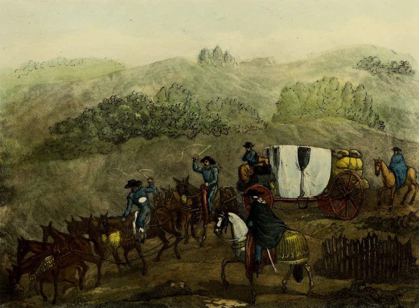Costumes Civils, Militaires et Religieux du Mexique - Coche de Colleras. Voiture de voyage, de Mexico a Jalapa. Vue du grand Pic d'Orizaba (1828)
