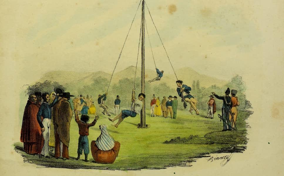 Costumes Civils, Militaires et Religieux du Mexique - L'enjambee des Geans. Jeu Mexicain (1828)