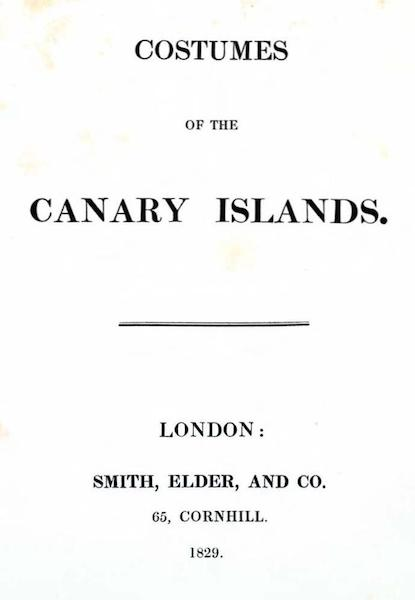 Costumes of the Canary Islands - Title Page (1829)