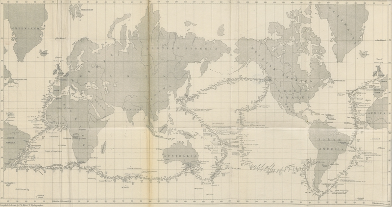 Cruise Round the World of the Flying Squadron - Map of the Cruise of the Flying Squadron (1871)