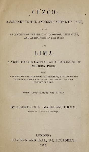 Cuzco: a Journey to the Ancient Capital of Peru - Title Page (1856)