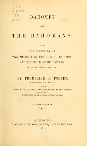Dahomey and the Dahomans - Title Page - Volume I (1851)