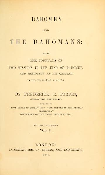 Dahomey and the Dahomans - Title Page - Volume II (1851)