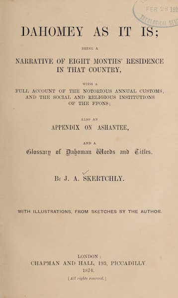 Dahomey As It Is - Title Page (1874)