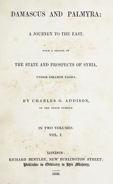 Damascus and Palmyra Vol. 1 - Title Page (1838)