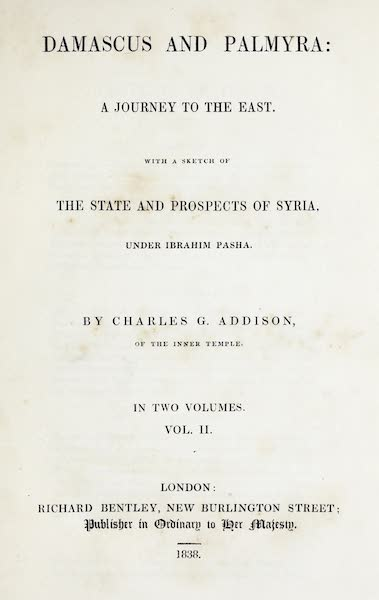 Damascus and Palmyra Vol. 2 - Title Page (1838)