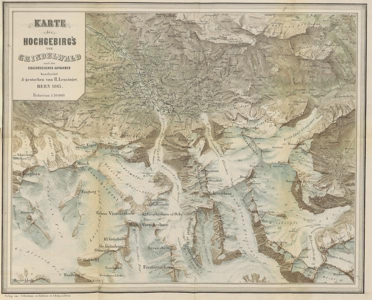 Das Hochgebirge von Grindelwald - Karte des Hochgebirge von Grindelwald (1865)