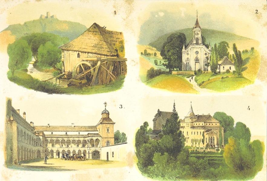 Das Pittoreske Oesterreich - Der Wadowicer Kreis (1. Lanckron, 2. Kirche zu Strysnow, 3. Suez, 4. Zafor) (1840)
