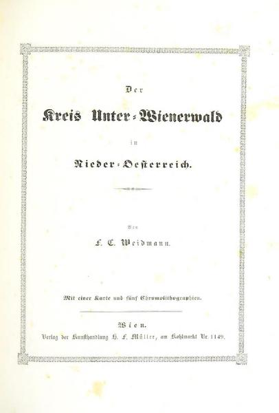 Das Pittoreske Oesterreich - Title Page - Part 7 (1840)