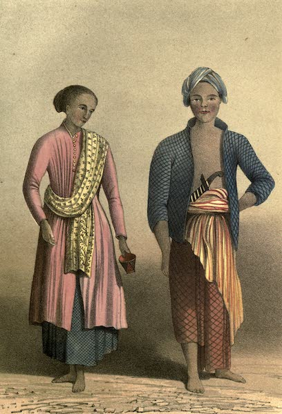De Zieke Reiziger, or, Rambles in Java and the Straits - A Javanese Man of the poorer class & A Javanese Woman, a lady's maid (1853)