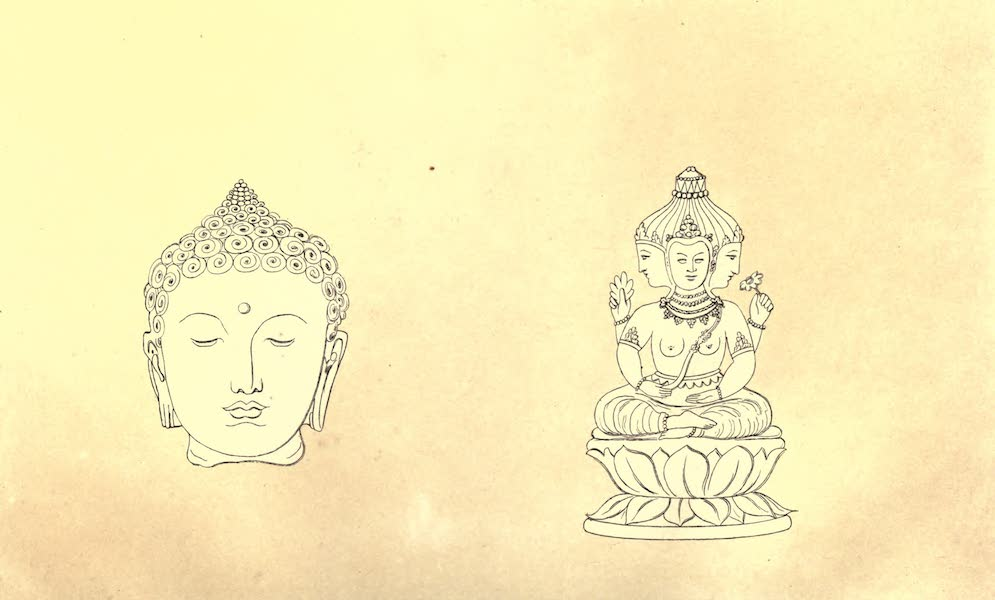 De Zieke Reiziger, or, Rambles in Java and the Straits - Head of a figure on the right side of the sketch of Boro abodir Temple & Figure near Boro Bodor (1853)