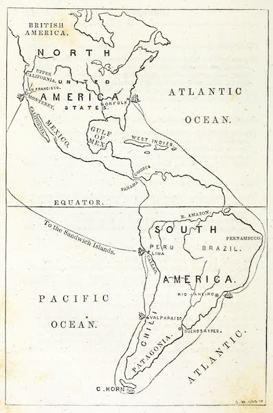 Deck and Port, or, Incidents of a Cruise in the United States Frigate Congress to California - Map of the Route (1850)