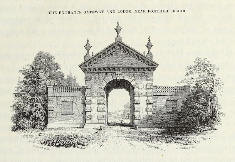 Delineations of Fonthill and its Abbey - The Entrance Gateway and Lodge Near Fonthill Bishop (1823)