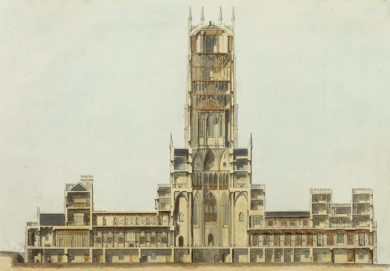 Delineations of Fonthill and its Abbey - Longitudinal Section (1823)