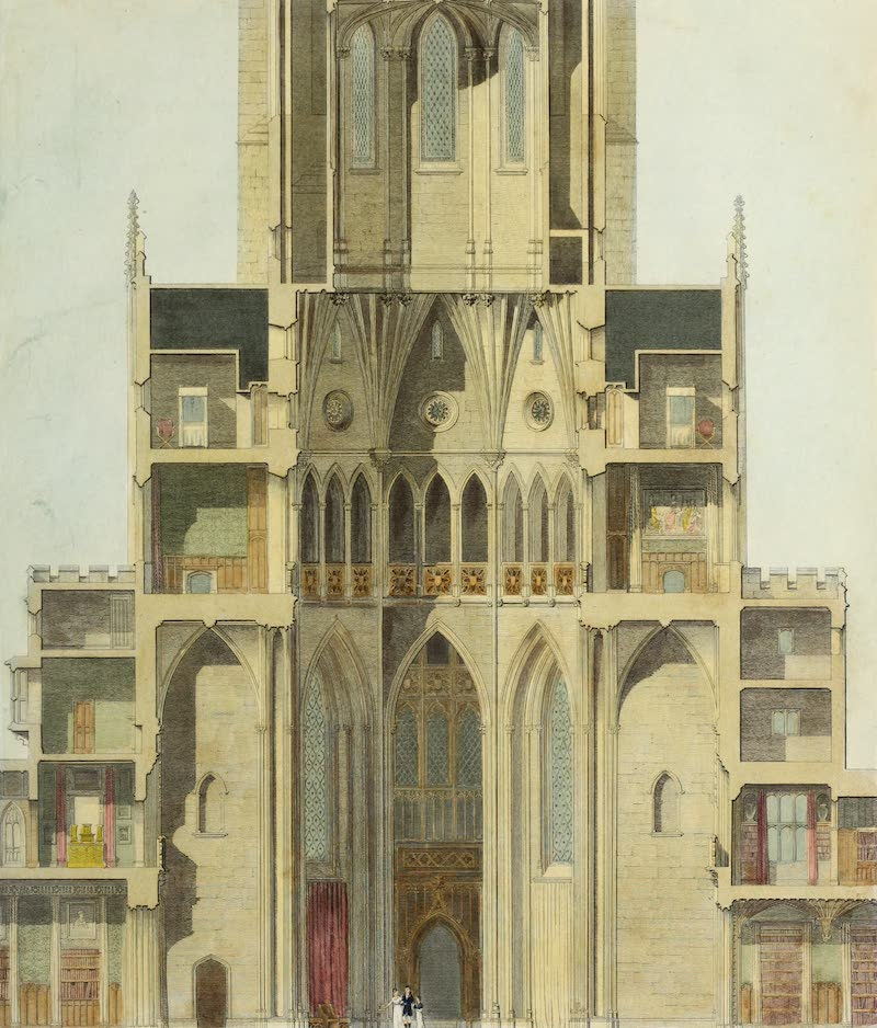 Delineations of Fonthill and its Abbey - Section of the Grand Saloon Vestibules Nunneries (1823)