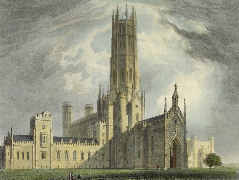 Delineations of Fonthill and its Abbey - View of the West and North Front (1823)