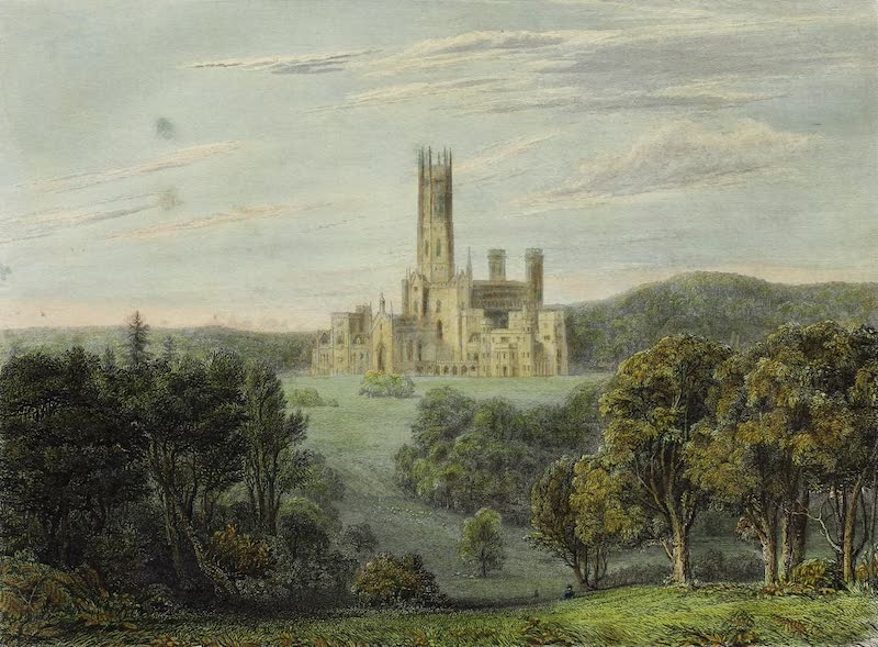 Delineations of Fonthill and its Abbey - View of the West and South Fronts (1823)