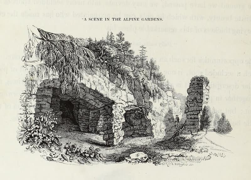 Delineations of Fonthill and its Abbey - A Scene in the Alpine Gardens (1823)
