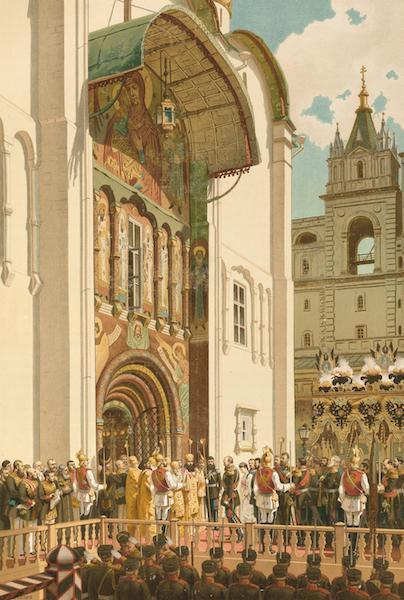 Description du Sacre et du Couronnement de Leurs Majestes Imperiales - Leurs Majestes a l'entree de la Cathedrale de l'Assomption (1883)