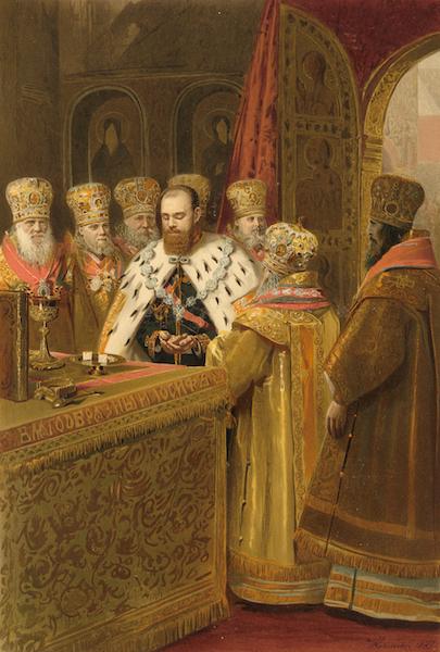 Description du Sacre et du Couronnement de Leurs Majestes Imperiales - La Sainte communion de Sa Majeste l'Empereur (1883)