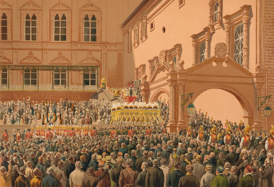 Description du Sacre et du Couronnement de Leurs Majestes Imperiales - Sa Majeste l'Empereur salue le peuple, du haut du Perron Rouge (1883)