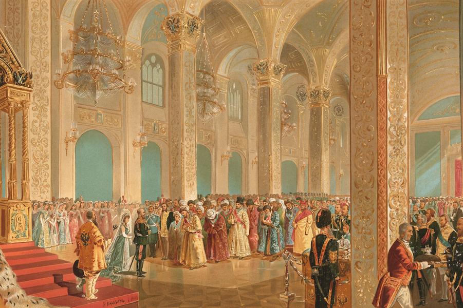 Description du Sacre et du Couronnement de Leurs Majestes Imperiales - Sa Majeste l'Empereur recoit les respectueuses felicitations des Representants des peuples Asiatiques (1883)
