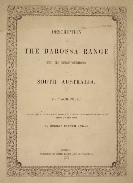Description of the Barossa Range and its Neighbourhood in South Australia - Front Wrapper (1849)