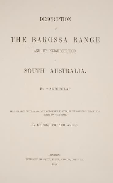 Description of the Barossa Range and its Neighbourhood in South Australia - Title Page (1849)