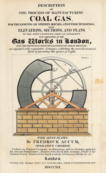 Description of the Process of Manufacturing Coal Gas - Title Page (1819)
