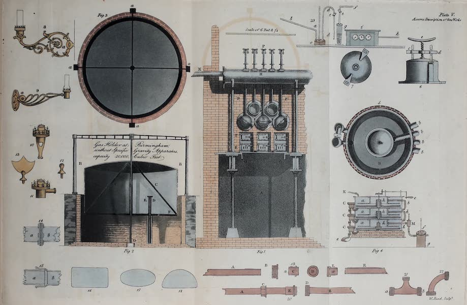 Description of the Process of Manufacturing Coal Gas - Figures & Diagrams Related to Gas-Works [I] (1819)