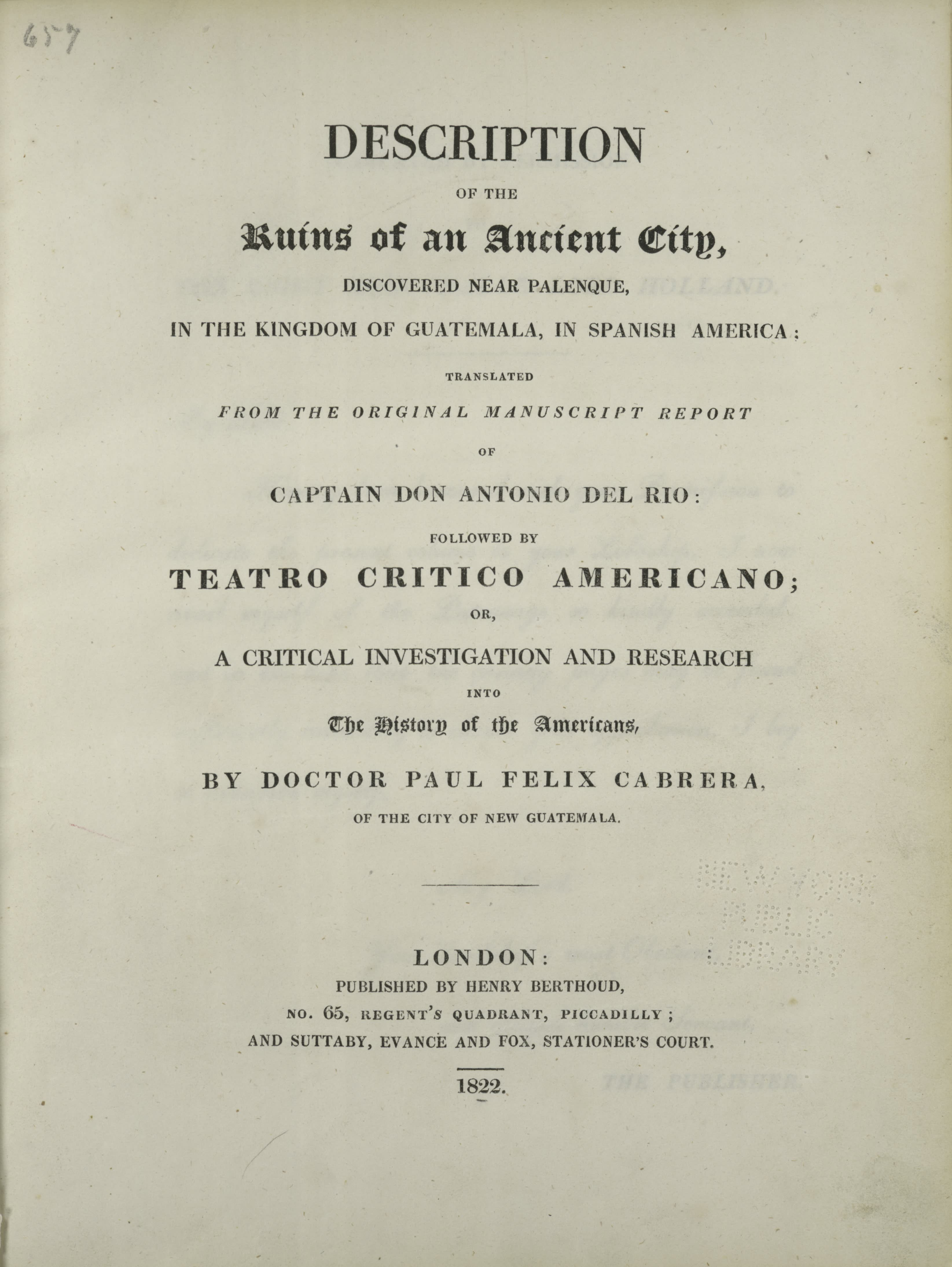 Description of the Ruins of an Ancient City - Title Page (1822)
