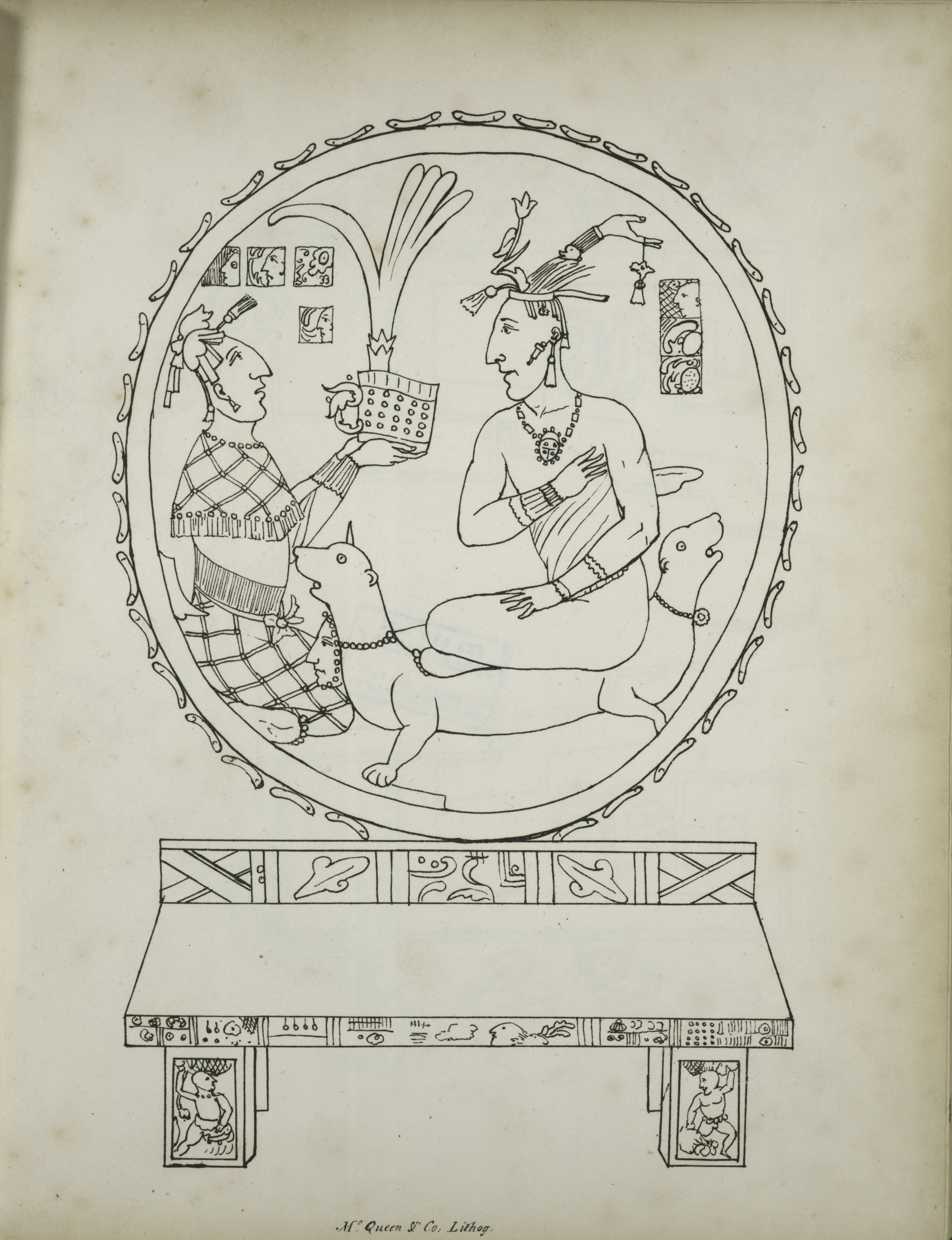 Description of the Ruins of an Ancient City - Two seated figures and two-headed dog within a circle, over bench decorated with figures and abstract elements (1822)